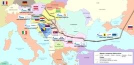 """Карта газопровода """"Южный поток"""", от которого Россия вынуждена была отказаться в пользу более короткого маршрута – до Турции"""
