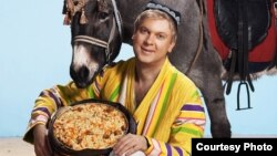 "Comedian and restaurateur Sergei Svetlakov poses with plov, an Uzbek hat, and a donkey. ""To every self-respecting Uzbek, this is unacceptable,"" is one reaction. ""Some peoples consider an ass to be a symbol of hard work,"" is another."