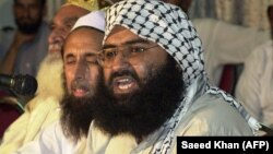 Masood Azhar (right) is head of the Jaish-e-Mohammad (JeM) militant group. (file photo)
