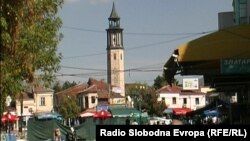 Macedonia-Clock Tower in Prilep, town clock that shows progression in the tilt. Oct.2012