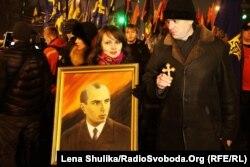 Смолоскипова хода до дня народження Степана Бандери, Київ, 1 січня 2015 року