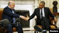 الرئيس الأميركي باراك أوباما يرحب برئيس الوزراء العراقي حيد العبادي في البيت الأبيض