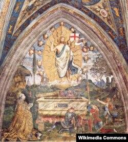 Бернардино Пентуриккьо. Воскресение. Роспись апартаментов папы Александр VI. 1490-е. Фигура слева – сам папа Александр.