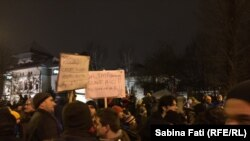 Акция протеста в Бухаресте, Румыния, 22 января 2017 года.