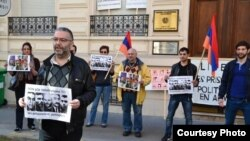 France - French-Armenian activist Schanth Vosgueritchian leads a protest outside the Armenian Embass in Paris, 28April 2015.
