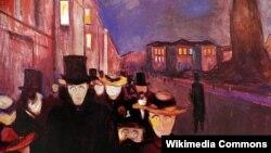 Эдвард Мунк, «Вечар на вуліцы Карла Югана» (1892).