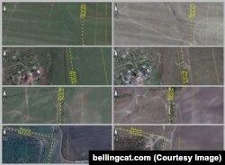 Прокладені військовою технікою дороги через російсько-український кордон