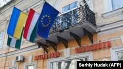 У Берегові на Закарпатті, де місцеві угорці становлять значну частку населення, прапор Угорщини (с) висить просто на будівлі міської ради, поруч із прапорами України і ЄС (фото 2017 року)
