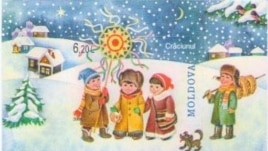 """Timbrul """"Colindătorii"""" din seria dedicată Crăciunului de """"Poşta Moldovei"""" (Pictor - Oleg Cojocari)"""