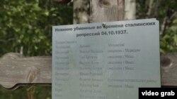 Пам'ятний хрест з іменами розстріляних на Золотій Гірці