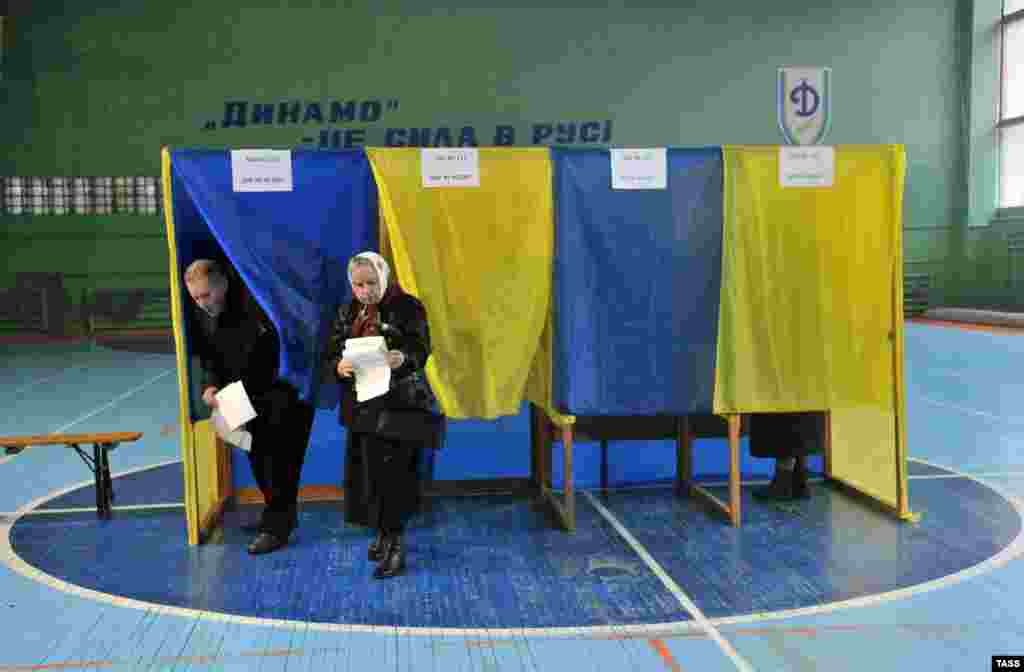 A polling station in Lviv