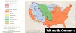 Территориальные приобретения США в годы президентства Джеймса Полка (обведены лиловой линией)