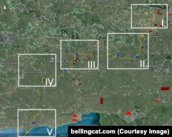 Пять зон, на которые условно разделили границу авторы расследования Bellingcat