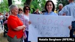 Maia Sandu la protestul de la Chișinău