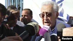 Jordan -- UN-Arab League peace envoy for Syria Lakhdar Brahimi speaks to the media during his visit to the Al Zaatri refugee camp in the Jordanian city of Mafraq, near the border with Syria, 18Sep2012