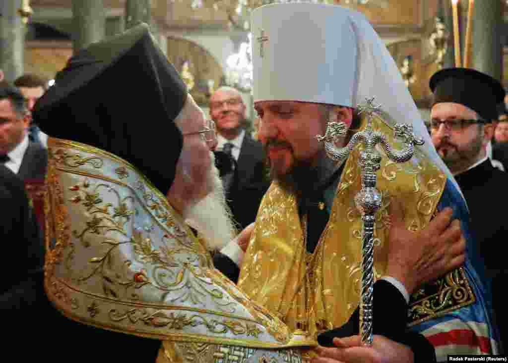 Предстоятель Православної церкви України митрополит Епіфаній таВселенський патріарх Варфоломій