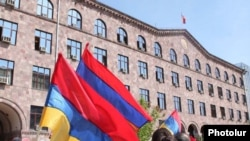 Armenian opposition supporters protest gas-price hikes in Yerevan in April.
