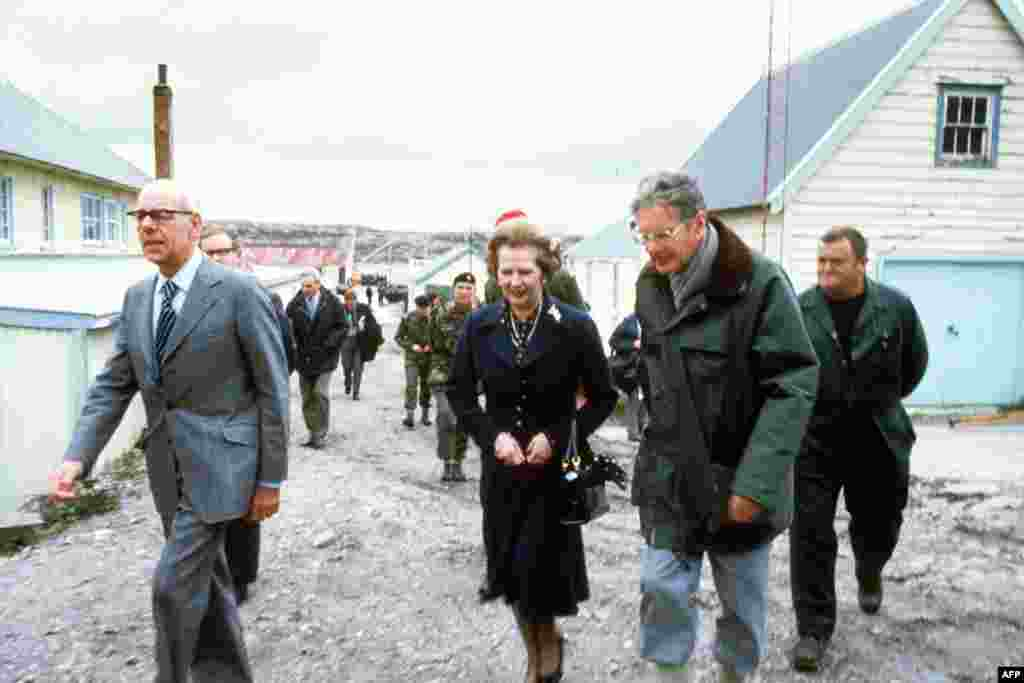 Margaret Thatcher tours Port Stanley with her husband, Denis, during her five-day surprise visit to the Falkland Islands in January 1983.