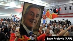 Slavlje u izbornom štabu Demokratske partije socijalista nakon pobjede Mila Đukanovića na predsjedničkim izborima u Crnoj Gori.