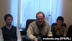 Праваабаронцы Аляксей Казьлюк, Ігар Сажын, Алена Танкачова.