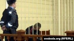 Дзьмітры Лукашэвіч у судзе, фота студзеня 2015 года