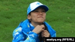 Қазақстандық жас боксшы Алуа Балқыбекова. Нанкин, 14 тамыз 2014 жыл.