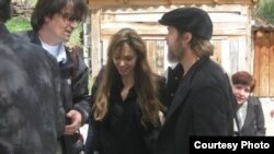 Actors Angelina Jolie and Brad Pitt during their visit to Bosnia