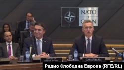 На церемонии подписания протокола о вступлении Северной Македонии в НАТО.