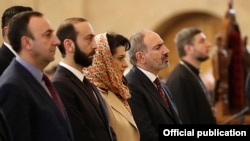Armenia -- Prime Minister Nikol Pashinian, parliament speaker Ararat Mirzoyan (second from left) and Constitutional Court Chairman Hrayr Tovmasian (left) attend a Christmas mass at St. Gregory the Illuminator's Cathedral in Yerevan, January 6, 2020.