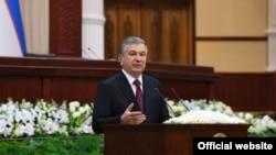 Президент Узбекистана Шавкат Мирзияев во время выступления в парламенте. Ташкент, 21 января 2020 года.