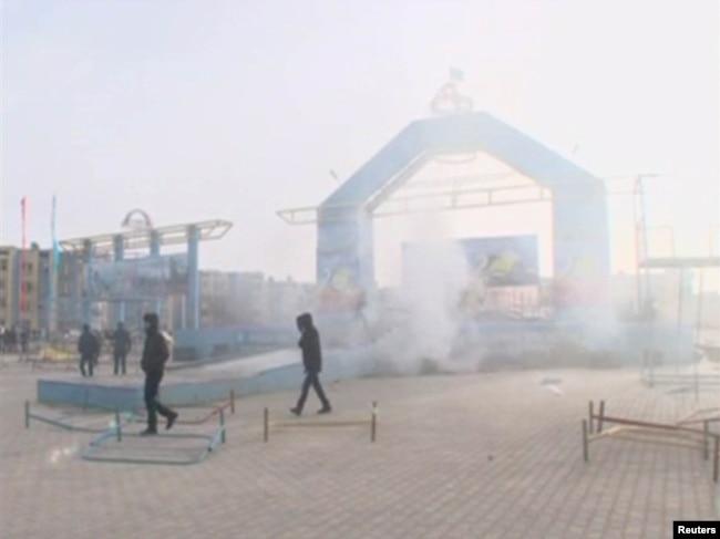 Городская площадь Жанаозена 16 декабря 2011 года.