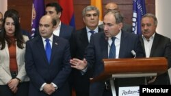Armenia - Leaders of the opposition Civil Contract, Bright Armenia and Hanrapetutyun parties announce the creation of an electoral alliance in Yerevan, 12Dec2016.