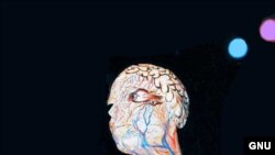 """И в наше время тело человека остается привлекательным для художников, работающих в жанре бодиарта. <a href = """"http://en.wikipedia.org/wiki/Image:Halloween_net-1.1.jpg"""" target=_balnk> GNU Free Documentation. </a>"""