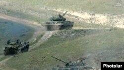 Nagorno-Karabakh -- Tanks hold military exercises.