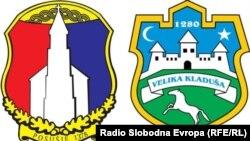 Grbovi opština Posušje (lijevo) i Velika Kladuša (desno), ilustracija