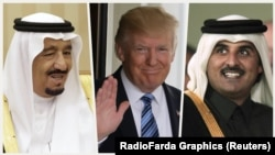 Donald Trump, King Salman bin Abdulaziz Al Saud of Saudi Arabia and Emir Tamin bin Hamad Al Thani of Qatar.