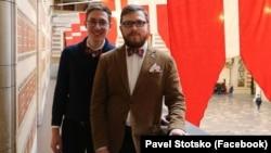 Yevgeny Voitsekhovsky (left) and Pavel Stotsko were married in Copenhagen on January 4.