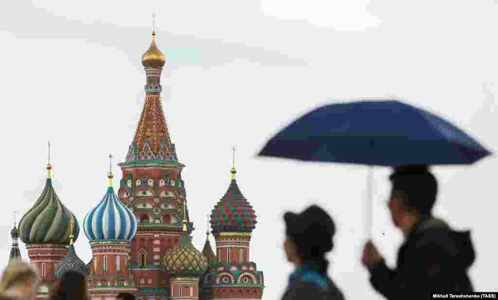 A view of St. Basil's Cathedral in Moscow, consecrated on July 12, 1561. (TASS/Mikhail Tereshchenko)