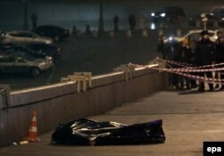 Imediat după asasinare, pe podul Bolșoi Kammenîi