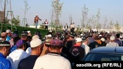 FILE: Worshippers leave a mosque after offering Eid al-Adha prayers in Uzbekistan.