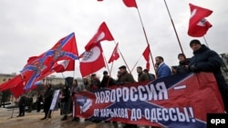 A rally in support of Novorossia in St. Petersburg in February