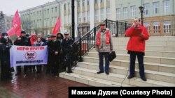 Максим Дудин на митинге КПРФ