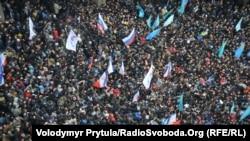 Мітинг проти сепаратизму й мітинг проросійських сил, Сімферополь, 26 лютого 2014 року
