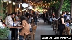 Armenia - A busy cafe in downtown Yerevan, May 14, 2020.