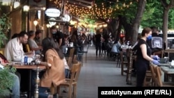 Armenia - A newly reopened cafe in downtown Yerevan, May 14, 2020.