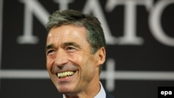 The new secretary-general of NATO, Anders Fogh Rasmussen, gives a press conference at NATO headquarters in Brussels.