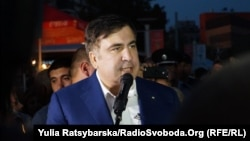 Mikheil Saakashvili speaks to supporters in Dnipro on September 20.