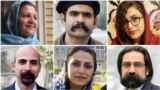 سپیده مرادی، کسری نوری، شکوفه یدالهی، رضا انتصاری، سیما انتصاری و مصطفی عبدی شش تن از دراویشی که در دادگاه محکوم شدهاند.