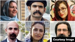 Iran -- Some dervishes who have convicted to longtime jail: (From top Left clockwise) Shokoufeh Yadollahi, Kasra Nouri, Sepideh Moradi, Reza Entesari, Sima Entesari, and Mostafa Abdi.