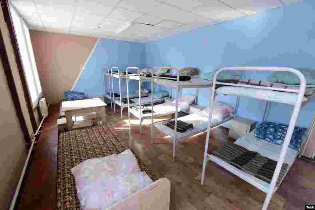 Bunk beds in a quarantine facility for Chinese nationals at a sports center near the Artyom crossing on the Russian-Chinese border in Russia's Far East